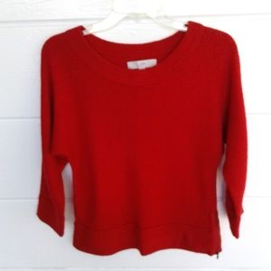 Ann Taylor Loft Red Knit Sweater Crop Top Small